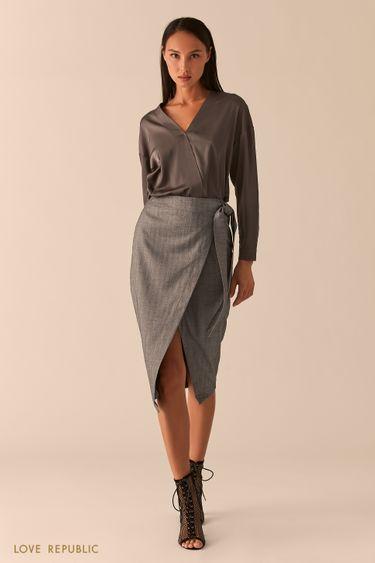 Строгая темно-серая юбка миди с запахом 0358210226
