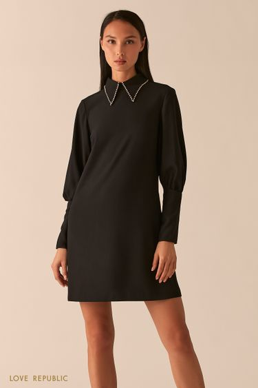 Черное платье А-силуэта с ультра-широкими манжетами 0358218552