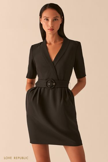 Черное приталенное платье с V-образным вырезом 0358224506