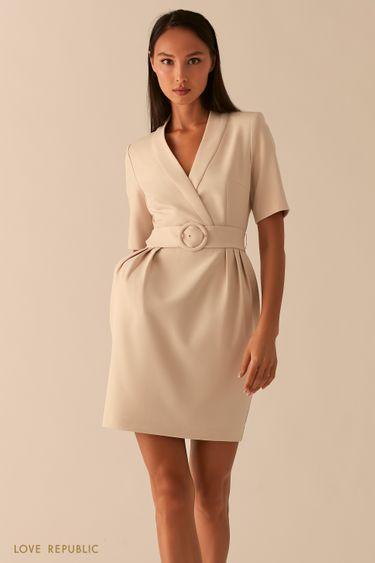 Кремовое приталенное платье с V-образным вырезом 0358224506