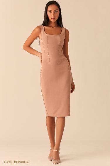 Бежевое платье с корсетным топом 0358224524