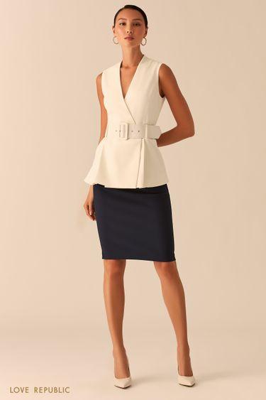 Темно-синяя базовая юбка карандаш с акцентной молнией на спине 0358226210