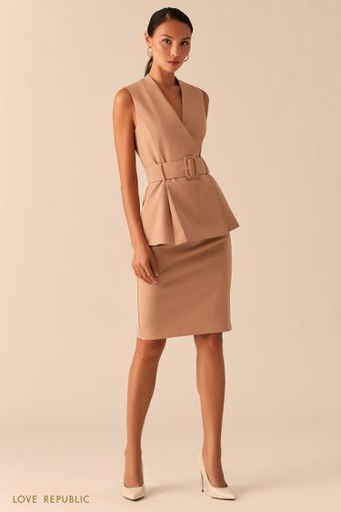 Бежевая базовая юбка карандаш с акцентной молнией на спине 0358226210