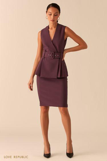 Базовая юбка карандаш с акцентной молнией на спине сливового цвета 0358226210