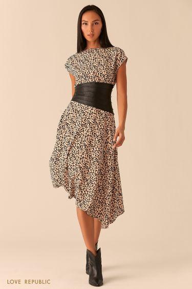 Асимметричное платье с кожаным косым корсетом 0358233527