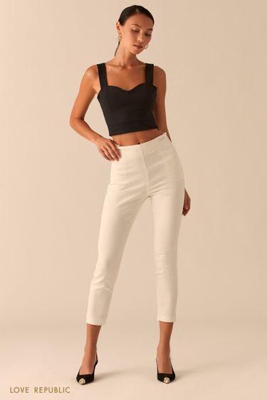 Укороченные белые брюки скинни 0358235711