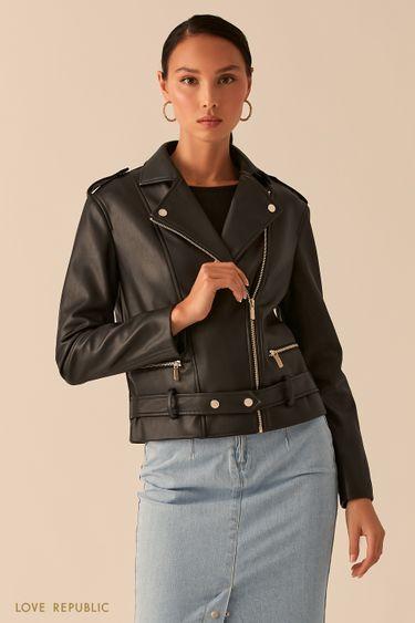 Черная куртка-косуха из экокожи с ремнем на заклепках 0358247103