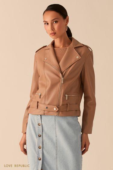 Бежевая куртка-косуха из экокожи с ремнем на заклепках 0358247103
