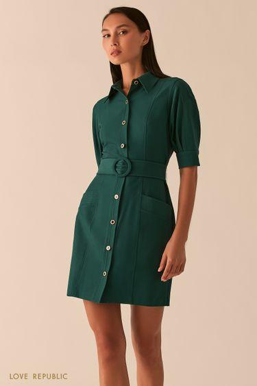 Платье мини с рядом пуговиц и поясом на талии изумрудного цвета 0358251574