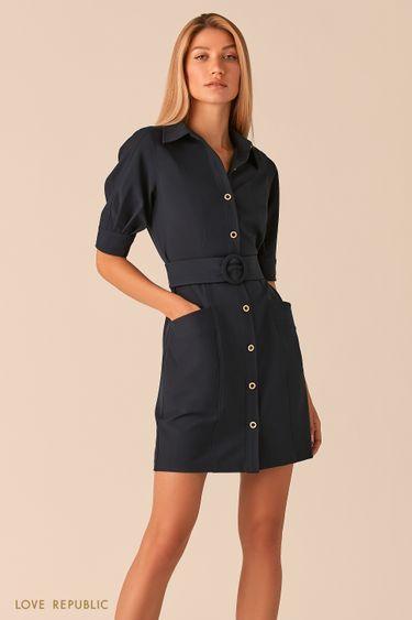 Темно-синее платье мини с рядом пуговиц и поясом на талии 0358251574