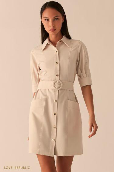 Платье мини с рядом пуговиц и поясом на талии кремового цвета 0358251574