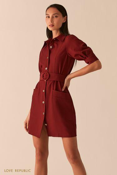 Платье мини с рядом пуговиц и поясом на талии винного цвета 0358251574