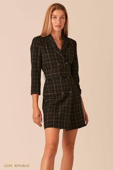 Черное двубортное платье-пиджак с принтом в клетку 0358254510
