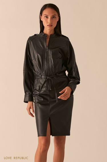 Черная свободная куртка из экокожи с рукавами реглан 0358258106