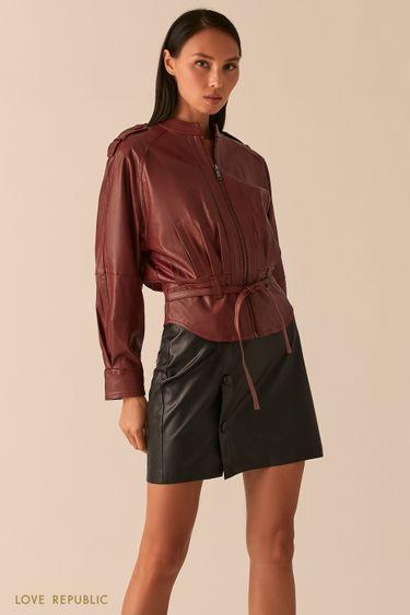 Свободная куртка из экокожи с рукавами реглан вишевого оттенка 0358258106