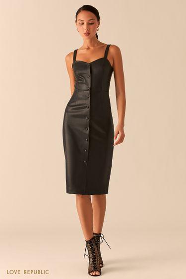 Открытое черное платье-футляр на пуговицах из экокожи 0358266549