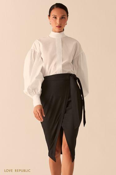 Черная юбка миди на запах с разрезом 0358272226