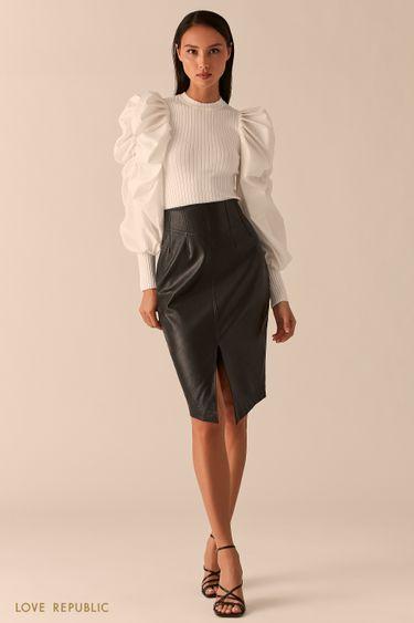 Черная юбка-карандаш из экокожи на кокетке с разрезом 0358273208