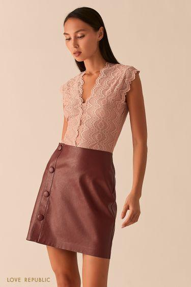 Мини юбка из экокожи с запахом на пуговицах ягодного цвета 0358273217