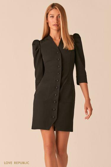 Короткое платье на пуговицах с рукавами-буфами черного цвета 0358287548