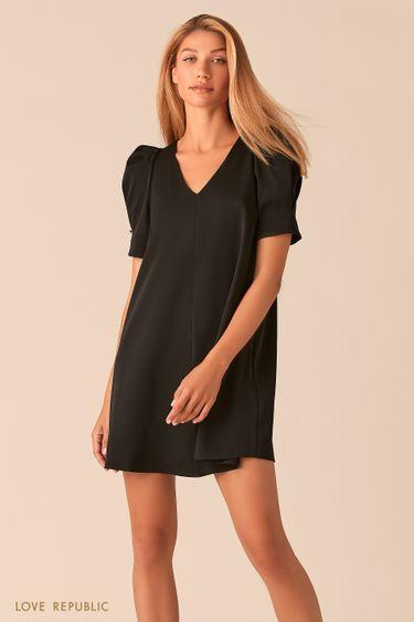 Черное мини платье с короткими рукавами-фонариками 0358292550