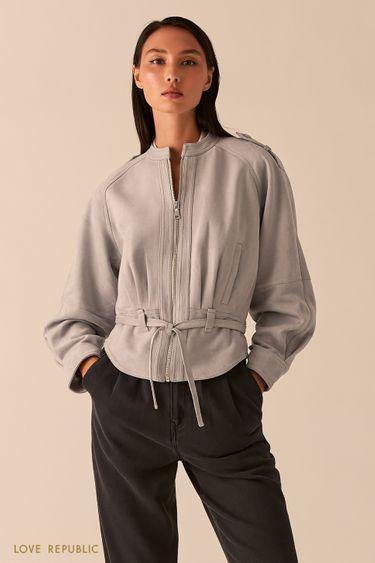 Серая объемная куртка из экозамши с поясом 0358293106