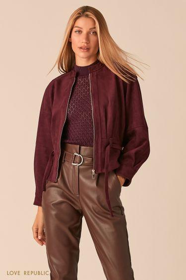 Объемная куртка из экозамши с поясом сливового оттенка 0358293106