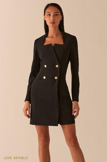 Черное платье-пиджак с фигурным вырезом каре 0358294566