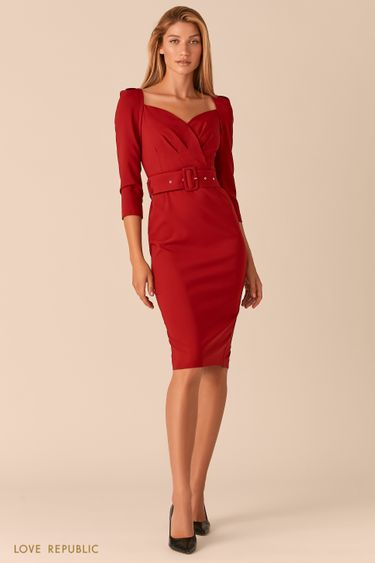 Платье-футляр с вырезом SWEETHEART ягодного оттенка 0358294597