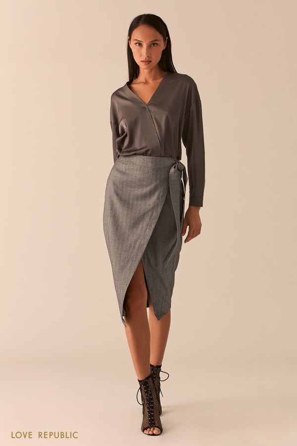 Строгая темно-серая юбка миди с запахом 0358210226-37