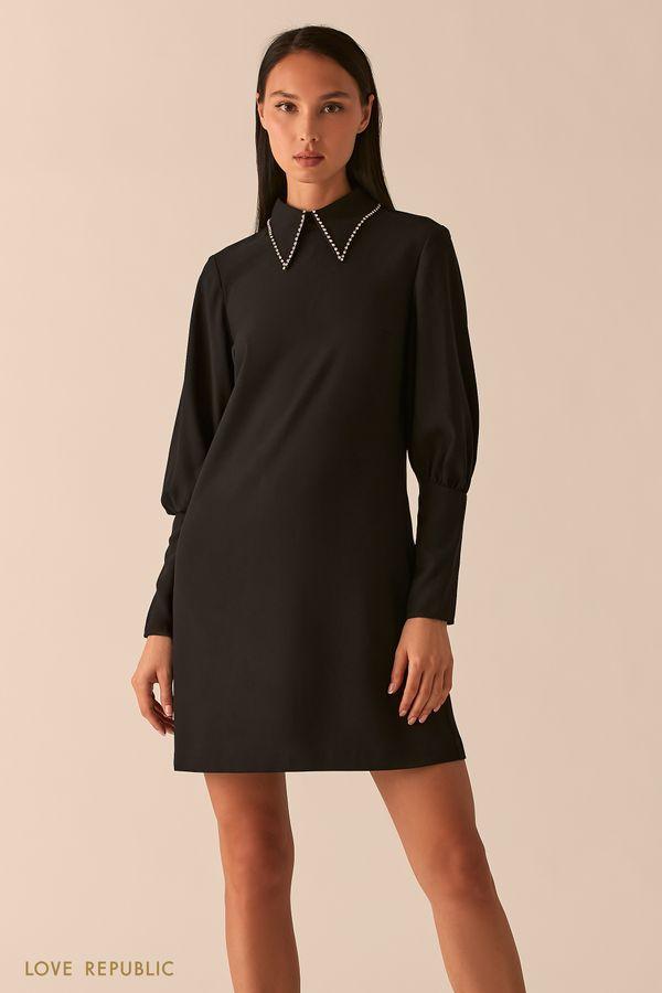 Черное платье А-силуэта с ультра-широкими манжетами 0358218552-50