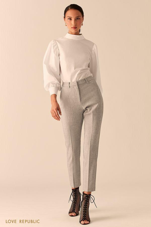 Укороченные светло-серые брюки со стрелками 0358219702-30