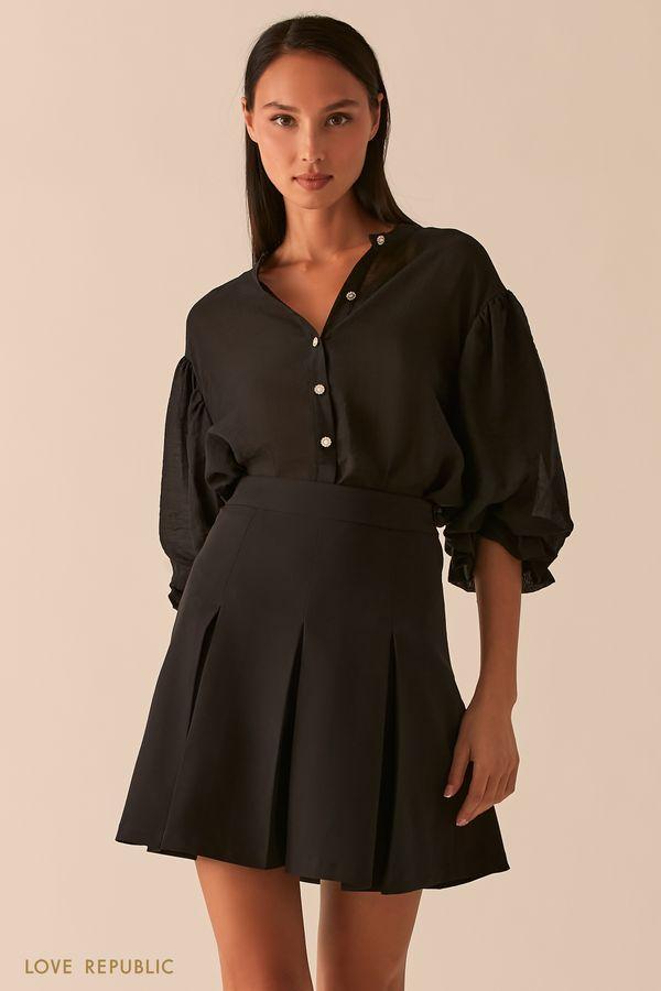Черная расклешенная юбка в складку 0358221216-50