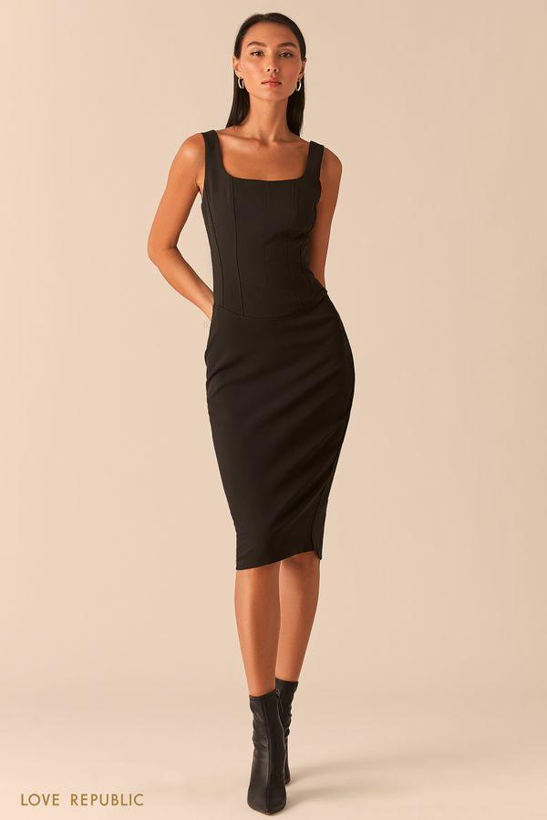 Бежевое платье с корсетным топом 0358224524-62