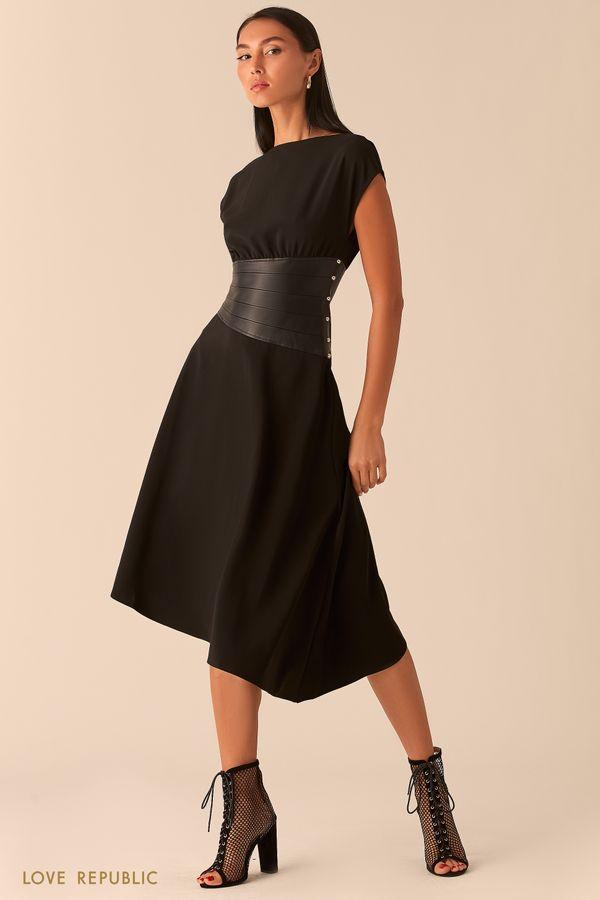 Черное асимметричное платье с кожаным косым корсетом 0358233527-50
