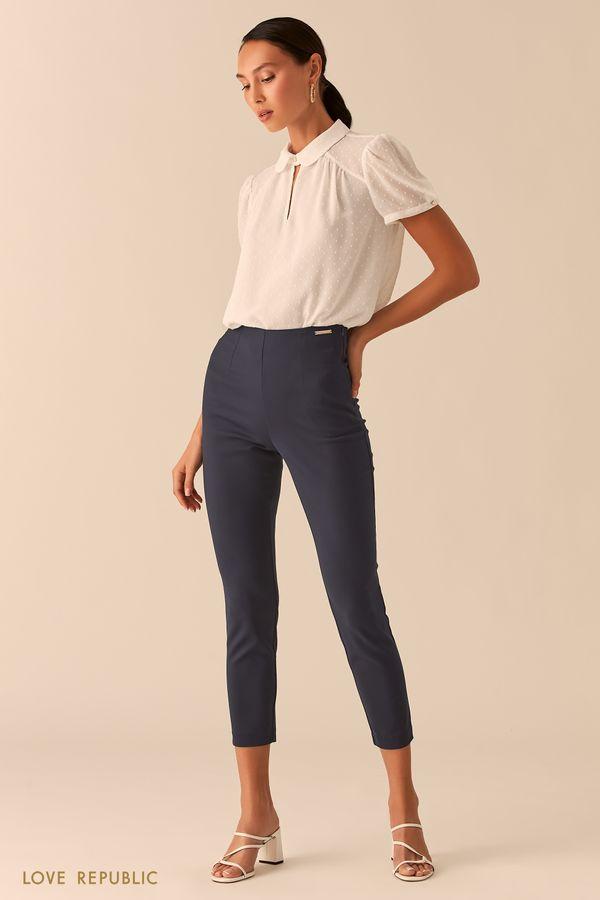 Укороченные черные брюки скинни 0358235711-50