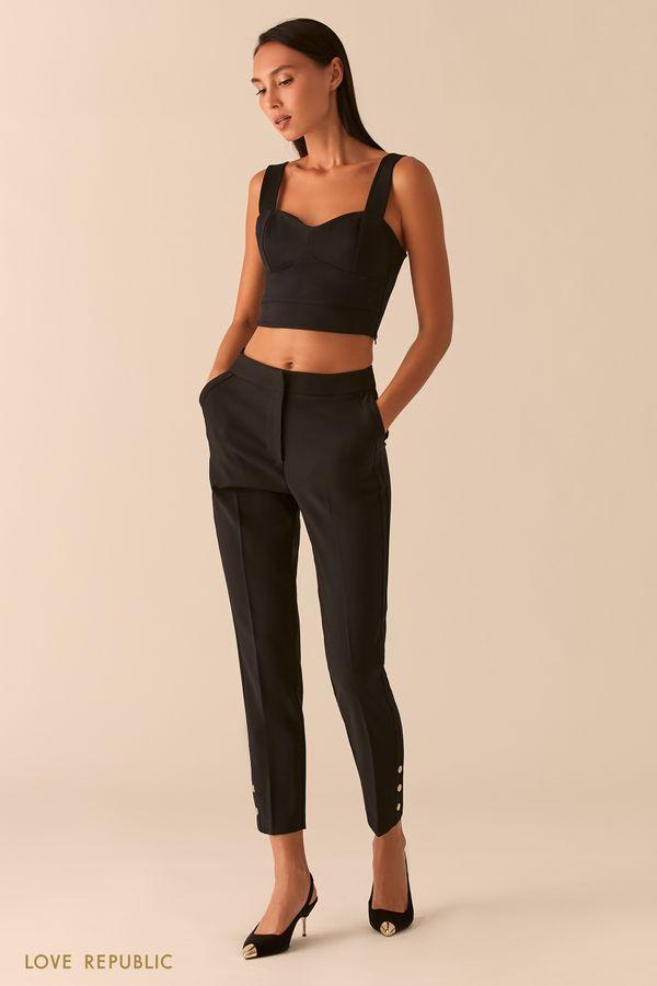 Зауженные бежевые брюки с металлическими заклепками 0358245720-62