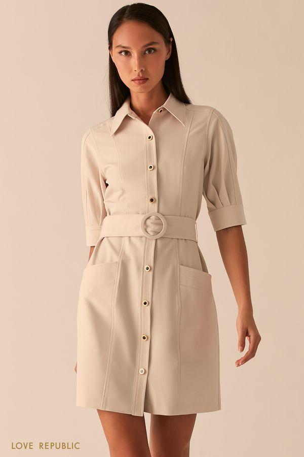 Платье мини с рядом пуговиц и поясом на талии изумрудного цвета 0358251574-16