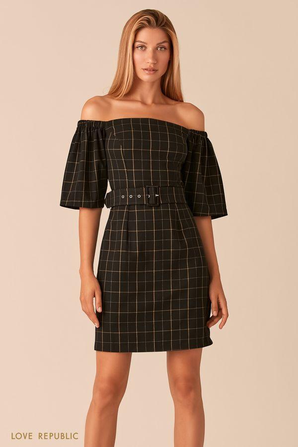 Черное платье с открытыми плечами и принтом в клетку 0358254536-54