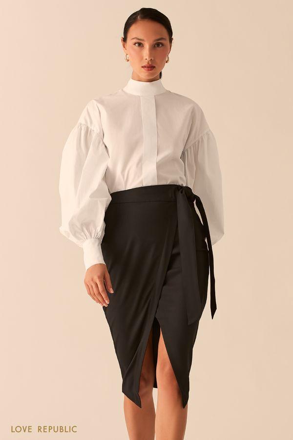 Черная юбка миди на запах с разрезом 0358272226-50