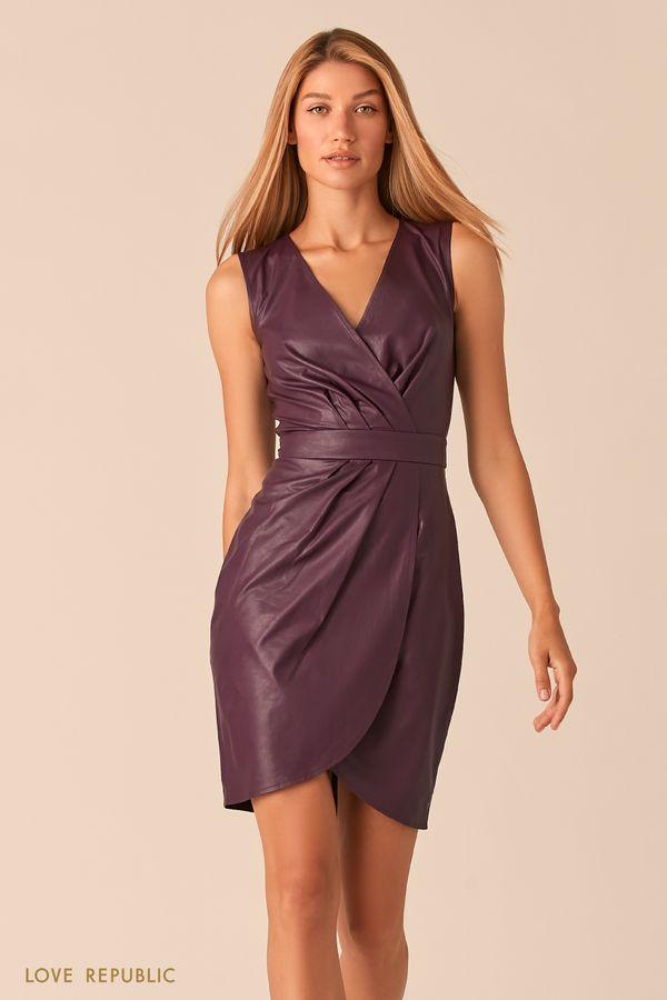 Платье из экокожи с драпировками 0358290551-50