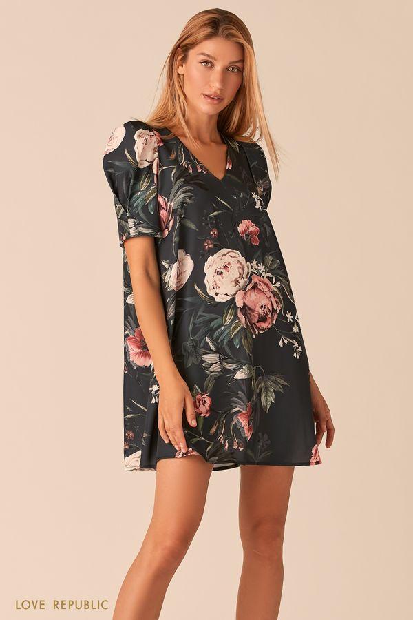 Мини платье с рукавами-фонариками и цветочным принтом 0358291550-95