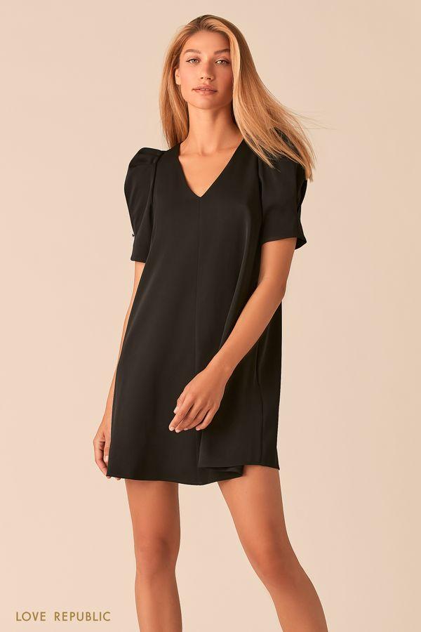Мини платье с короткими рукавами-фонариками ягодного оттенка 0358292550-77