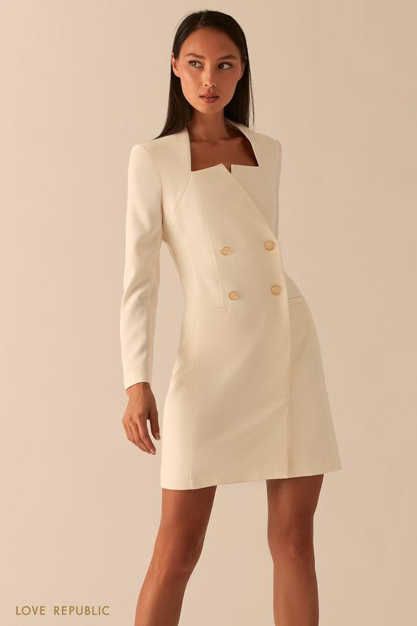 Белое платье-пиджак с фигурным вырезом каре 0358294566-1