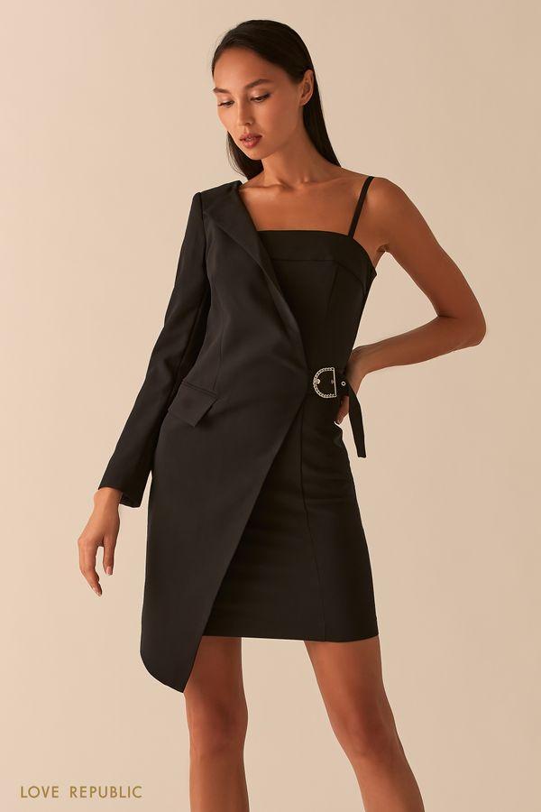 Черное асимметричное платье-пиджак на одно плечо 0358294595-50