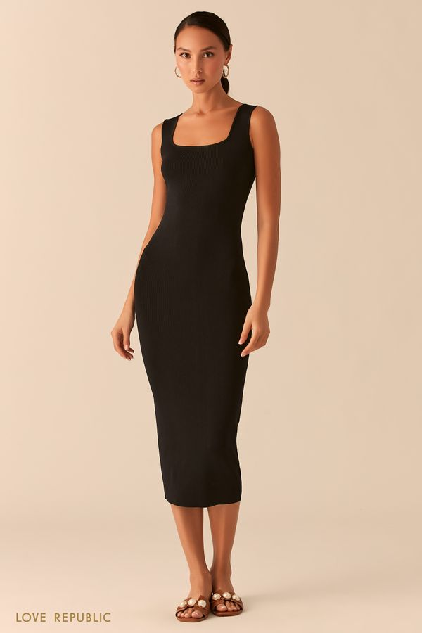 Трикотажное платье миди из ткани в рубчик ягодного оттенка 0358305533-77