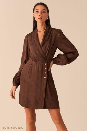 Шоколадное платье-пиджак из вискозы с принтом