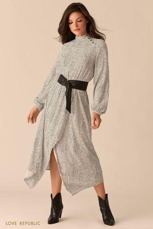 Платье из вискозы с асимметричным разрезом и ремнем на талии фото