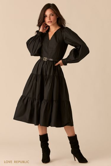 Черное ярусное платье из хлопка с ремешком на талии 0359026536