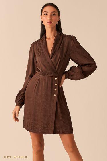 """Шоколадное платье-пиджак из вискозы с принтом """"гусиная лапка"""" 0359032552"""